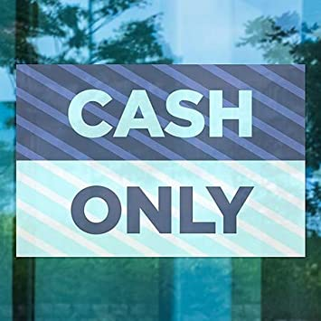 Stripes Blue Window Cling CGSignLab Cash Only 5-Pack 18x12