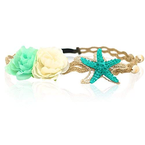 Little Mermaid Crown (Starfish Shell Wave Headband, Elastic Flowers Hairband, Flower Headpiece, Mermaid Hair)