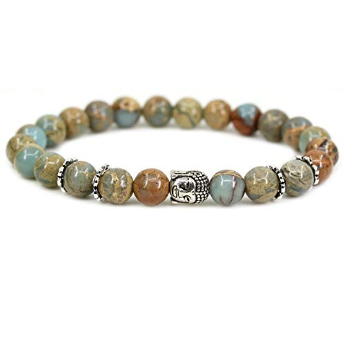 Natural Serpentine with 925 Sterling Silver Buddha Head Gemstone 8mm Round Beads Stretch Bracelet 7
