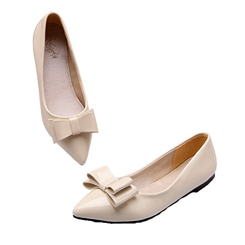 AllhqFashion Womens Patent Leather Low-Heels Closed-Toe Pull-On Pumps-Shoes Beige DkdYmU