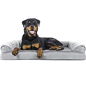 Furhaven Pet Dog Bed | Orthopedic Ultra Plush Faux Fur & Suede Sofa-Style Living Room Couch Pet Bed for Dogs & Cats, Gray, Jumbo 14