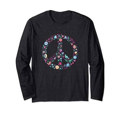 Floral Peace Sign Long Sleeve Shirt