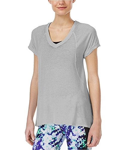 Calvin Klein Performance Womens Sheer V-Neck Tunic Top Gray M