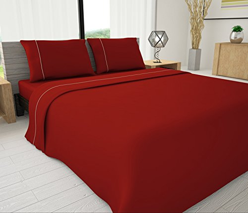 Red Livingston Home Pinzon 33046 625 Series Solid Sheet Set with Piping Accents King