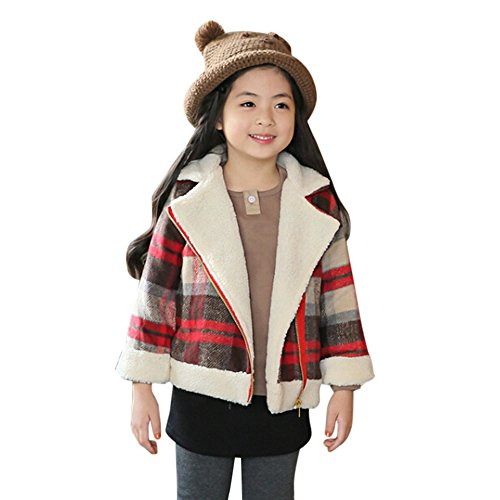 Price comparison product image Woolen Plaid Coat Jacket, G-Real Baby Girls Boys Winter Thick Warm Clothes Zipper Fashion Outwears for 3-7y Kids