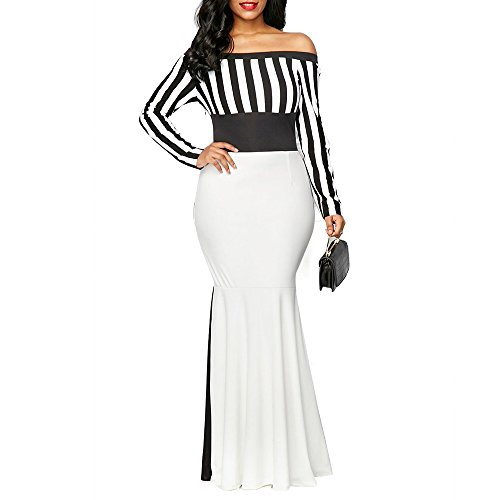 VERWIN Off Shoulder Bodycon Fishtail Women's Maxi Dress Long Sleeve Floor-Length Stripe Dress (Black And White Stripe Dress)