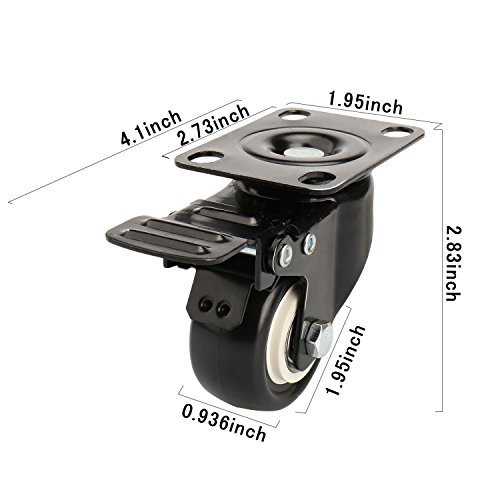 2'' Swivel Caster Wheels with Safety Dual Locking and Polyurethane Foam No Noise Wheels, Heavy Duty - 150 Lbs Per Caster (Pack of 4) by Decolighting (Image #2)