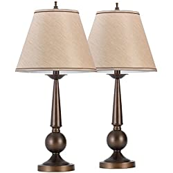 "Globe Electric Set of Two 27"" Table Lamps, Bronze Finish, Beige Shades, 12398"