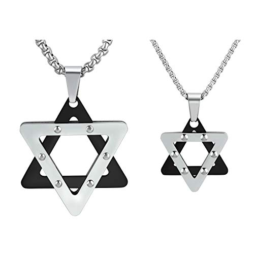 abooxiu Star of David Pendant Necklace Stainless Steel Jewish Jewelry for Men Women Parent Children Friendship Religious Free 24 Link Chain 2 Packs