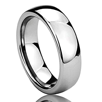 6mm stainless steel wedding band ring high polished classy domed ring 6 to 14 - Stainless Steel Wedding Rings