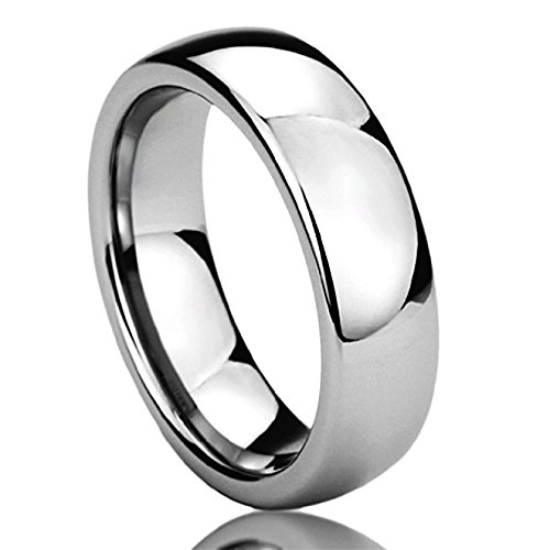 - Prime Pristine 6MM Stainless Steel Mens Womens Rings High Polished Classy Domed Comfort Fit Wedding Bands SZ: 7