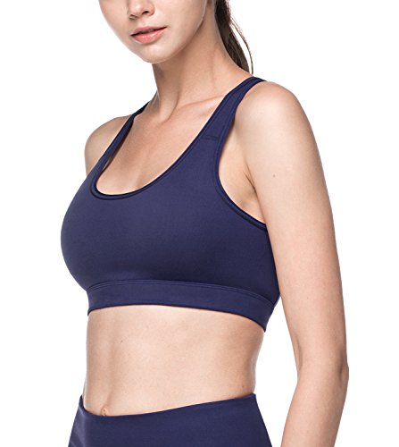 LAPASA Womens Sports Bra. Anti-Irritant Wide Straps, Mid-Impact Support L07 (S/Please See Our Sizechart, Navy (with mesh Panels))