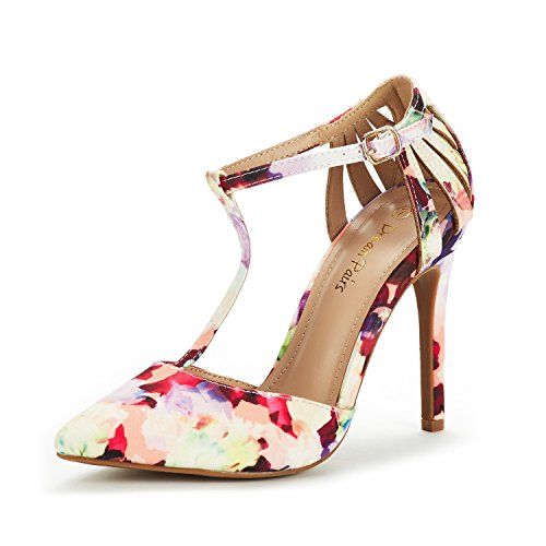 DREAM PAIRS Women's Oppointed-Mary Floral Fashion Dress High Heel Pointed Toe Wedding Pumps Shoes Size 8 M (Floral High Heel Pump)
