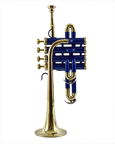 PICCOLO TRUMPET Bb PITCH BLUE COLOR+ BRASS WITH HARD CASE AND MP by SAI MUSICAL