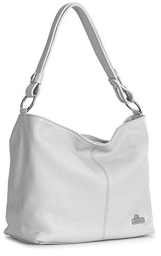 LIATALIA Womens Genuine Italian Leather Medium Size Shoulder Hobo Bag - Adjustable Long Strap Handbag - EMMY - Leather Designer White Italian