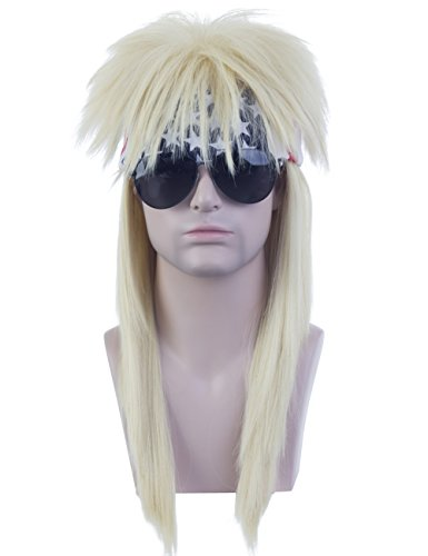 Price comparison product image Angelaicos Unisex Long Blonde Mullet Wig 60s 70s Punk Disco Rocker Flat Top Wigs with Bandana
