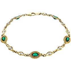 3 3/4 ct Emerald and 1/10 ct Diamond Link Bracelet in 10K Gold