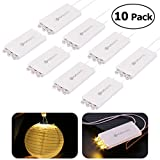 10 Pack Mini Party Lights with 3 LEDs, YUNLIGHTS Waterproof Lights for Paper Lanterns Balloons Party Decoration - Warm White …