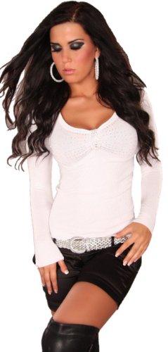 In Style–Jersey para mujer con cuello de pico y piedras, talla única (32-38) Weiß
