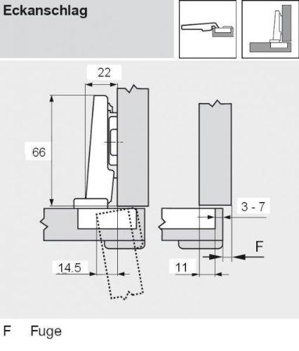 Eckanschlag Topf INSERTA CLIP top BLUMOTION Profilt/ürscharnier 95/°