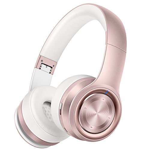 (Picun P26 Bluetooth Headphones Over Ear 40H Playtime Hi-Fi Stereo Wireless Headphones Girl Deep Bass Foldable Wired/Wireless/TF for Phone/TV Bluetooth 5.0 Wireless Earphones with Mic Women (Rose)