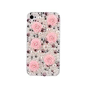 AES - DIY 3D Flower and Pearl with Rhinestone Plastic Case for iPhone 4/4S , Pink