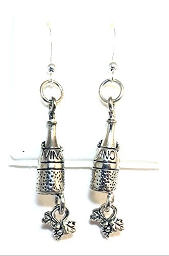 Pewter Wine Bottle Charms with Dangling Grapes on Hypoallergenic French Hook Dangle Earrings