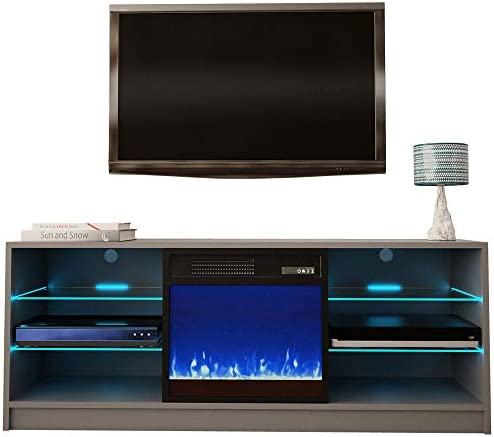 Meble Furniture Manhattan Electric Fireplace Modern 58 TV Stand
