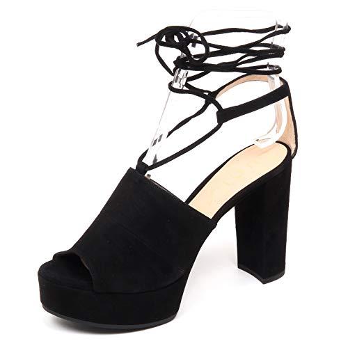 Woman Shoe Zeppa Nero Donna Scarpe Suede Vale Black Sandalo Unisa F0800 qf48wwz
