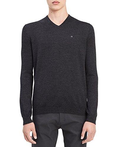 Gray Merino Wool Sweater (Calvin Klein Men's Merino Solid V-Neck Sweater, Charcoal Black Jack Heather, Medium)