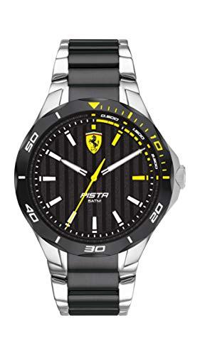 Ferrari Men's Pista Quartz Stainless Steel Case and Bracelet Casual Watch, Color: Silver and Black (Model: 830762)