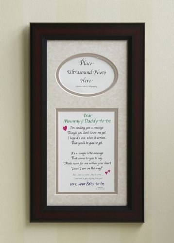 """All Things For Mom """"Mommy and Daddy to Be"""" Ultrasound Picture Frame with Taupe Mat (7""""x14"""")"""