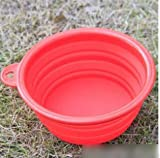 1pcs Foldable Portable Dog Bowl Cute Portable Silicone Collapsible Folding Pet Bowl Travel Cat Pet Bowl Feeding Water Food Color Red