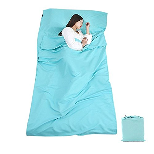 Diagtree Sleeping Bag Liner Cotton Travel Sheet Portable Envelope Ultralight Sleep Sack Soft and Breathable for Outdoor Picnic Travel Hotel (Sky Blue, 8345) Travel Sheet Sleep Sack Cotton