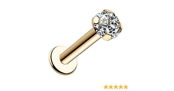 FreshTrends 2mm I1 Diamond 14 Gauge 1//4 Solid 14K White Gold Bezel Set Labret