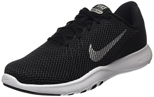 NIKE Women's Flex 7 Cross Trainer, Black/Metallic Silver-Anthracite-White, 8.5 B(M) US (Women Sports For Nike Shoes)