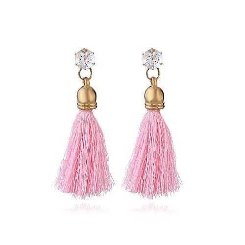 MJW&EH Femme Boucles d'oreille goutte Boucle d'oreille Strass Gland Rétro Ethnique Coton Alliage Forme de Cercle Bijoux Mariage Soirée Bijoux de , one size