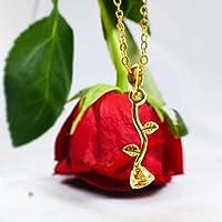 Collar con dije de Rosa (SÍMBOLO DE AMOR) -Rosa mini colgante- Tutti Joyería - cadena chapa de oro 22k