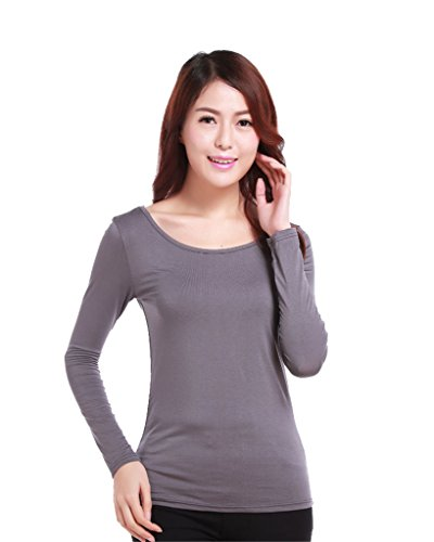 GladThink Musulmanes camiseta de manga larga de las mujeres de longitud completa Gray