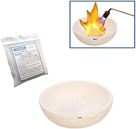 Ceramic Melting Dish Cup 2-1//4 Fused Silica Crucible /& Borax Melt Gold Silver