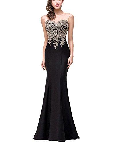 De Cola Maxi Largo Noche Fiesta Mujer Vestido Negro Pescado Elegante Vestido 0YSc8w