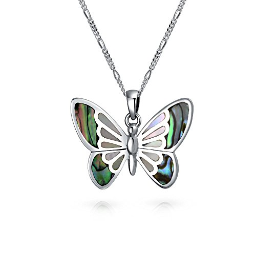 - Rainbow Abalone Shell Inlay Butterfly Pendant Necklace For Women For Teen 925 Sterling Silver With Chain