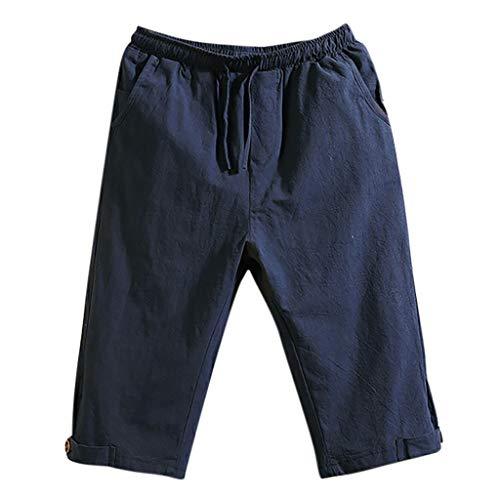 Mens Casual Baggy Pants Vintage Cotton Linen Pocket Lounge Harem Pants Beach Long Shorts Trousers (5XL, Navy) ()