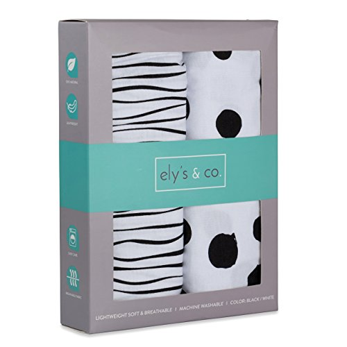 Changing Pad Cover Set | Cradle Sheet 2 Pack 100% Jersey Cotton Black and White Abstract Stripes and Dots by Ely's & Co by Ely's & Co