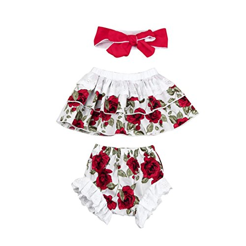 Vibola Toddler Baby Girl Floral Tops+Lace Bottoms Briefs+Headband