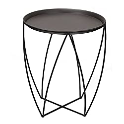 ELEGAN Luxury Classic Metal Accent Nesting Side End Table (Black Classic)