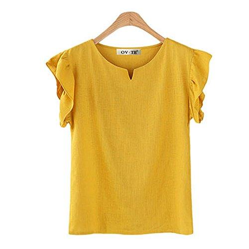FINCATI Tshirts Women Grils Textured Cotton Tops Ruffled Sleeve Yellow T Shirt Blouse Tank Tops (B-Yellow, ()