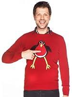 Woolly Babs Men's Christmas Jumper Rodney Robin Roundneck