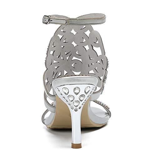 Strassones Chaussure Silver Sandals Mule Les Talon Sur Slider Unbekannt Basses Femme W0zwOw7qP