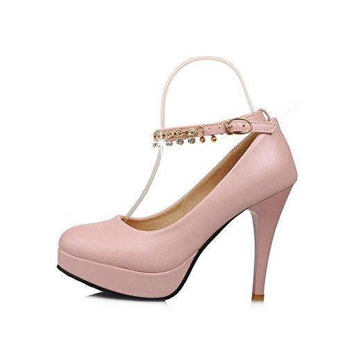 Amoonyfashion Suljetun Pinkki Korkokengät Pehmeä Solki Solid Toe Naisten kengät Pumppuja Pyöreä Materiaali rw1H7BrTAq